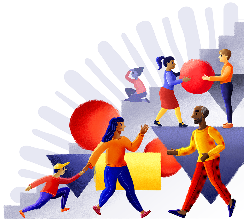 Illustration of diverse people working together to for social change.