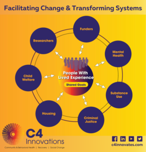 Diagram of Facilitating Change & Transforming Systems for People with Lived Experience